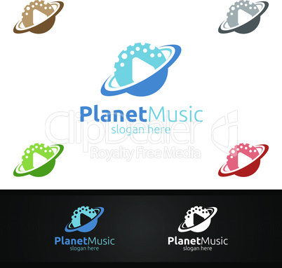 Music Logo with Planet and Play Concept