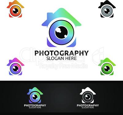 Home Camera Photography Logo Icon Vector Design Template