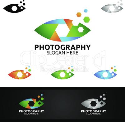 Eye Camera Photography Logo Icon Vector Design Template