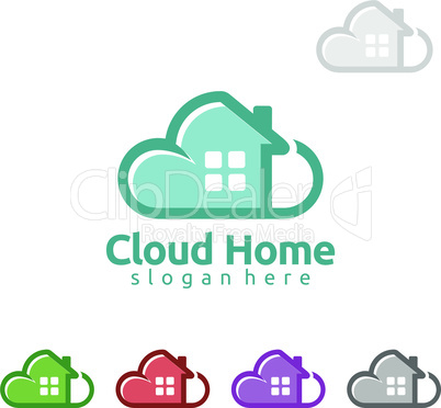 Cloud Home, Real Estate vector logo design with House and cloud shape, Represented internet, Data or Hosting