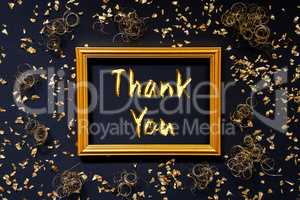 Frame, Golden Glitter Christmas Decoration, Text Thank You