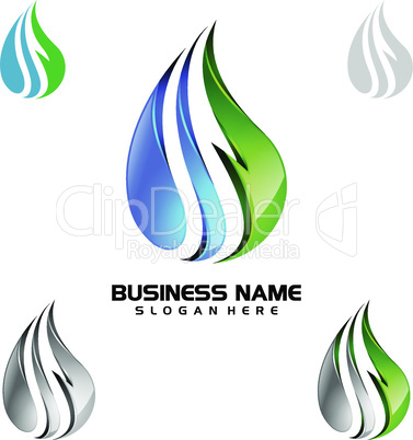 Water Drop, Oil, Gas, 3d blue water drop vector logo design