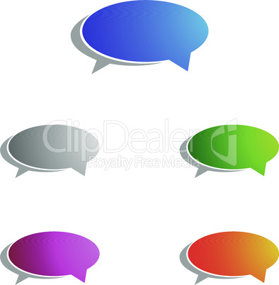 Chat Icon with Speech Bubble and Shadow, Set of Thought, Dream cloud. Talk Balloon. Quote box. Text information frame. Banner and badge concept