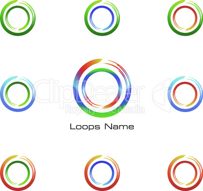 Abstract Loop Logo with Geometric Circle Wheels set. Business icon, web, Vector Label and Emblem.