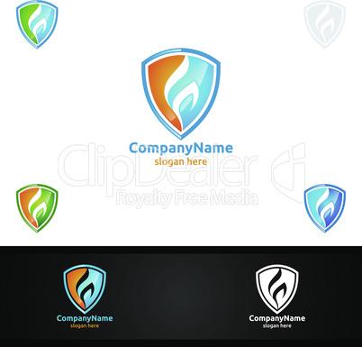 Fire Flame Logo Security Concept Vector Design