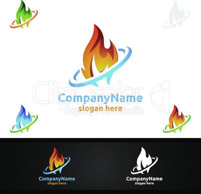 3D Fire Flame Element Vector Logo Design
