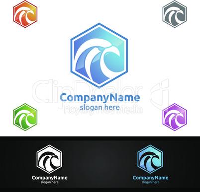 Eagle Logo with Hawk and Phoenix Concept Vector Design