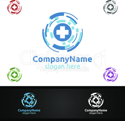 Biomedicine Cross Medical Hospital Logo for Emergency Clinic Drug Store or Volunteers Concept
