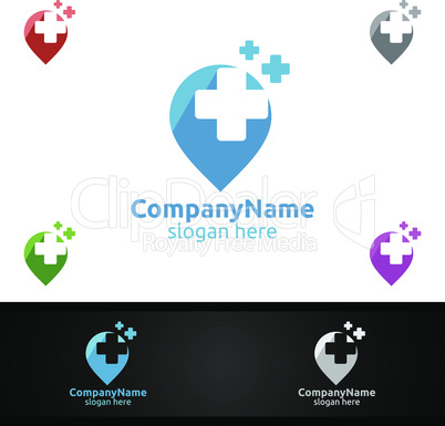 Pin Locator Cross Medical Hospital Logo for Emergency Clinic Drug Store or Volunteers Concept