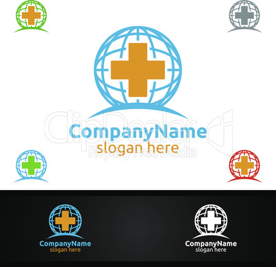 Cross Global Medical Hospital Logo for Emergency Clinic Drug store or Volunteers Concept