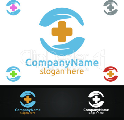 Cross Scure Medical Hospital Logo for Emergency Clinic Drug store or Volunteers Concept