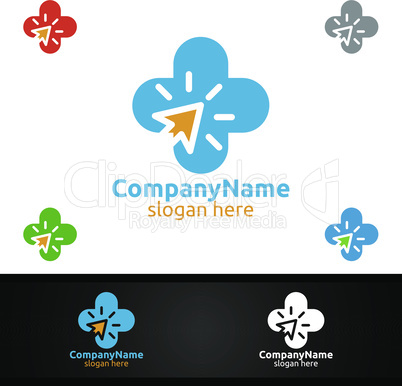 Cross Click Medical Hospital Logo for Emergency Clinic Drug store or Volunteers Concept