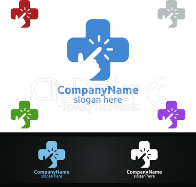 Click Cross Medical Hospital Logo for Emergency Clinic Drug store or Volunteers Concept