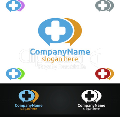 Chat Cross Medical Hospital Logo for Emergency Clinic Drug store or Volunteers Concept