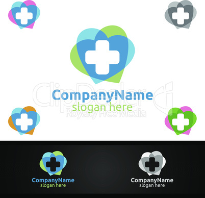 Love Cross Medical Hospital Logo for Emergency Clinic Drug store or Volunteers Concept