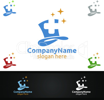 Magic Cross Medical Hospital Logo for Emergency Clinic Drug store or Volunteers Concept