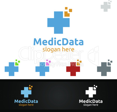 Cross Medical Hospital Logo for Emergency Clinic Drug store or Volunteers Concept