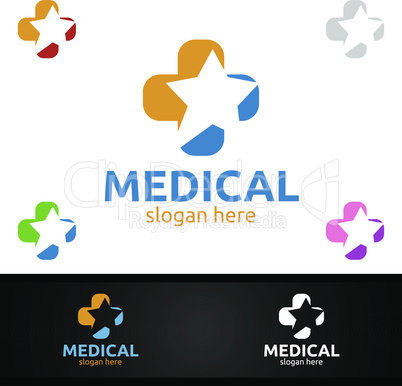 Star Cross Medical Hospital Logo for Emergency Clinic Drug store or Volunteers Concept