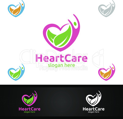 Health Care and Heart Vector Logo Design for Education, Yoga, Fitness or Charity Concept