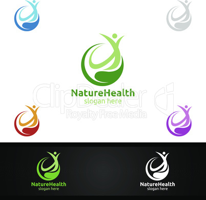 Organic Health Care Medical Logo with Human and Leaf Character for Therapy, Wellness, Spa, Education, Nutrition, or Fitness Concept