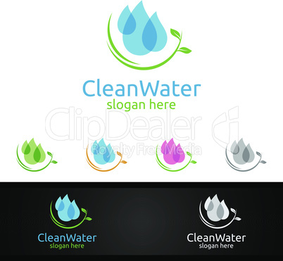 Green Water Drop Logo with Health Care Concept for Cleaning, Drinking, treatment ,Nutrition, or Fitness