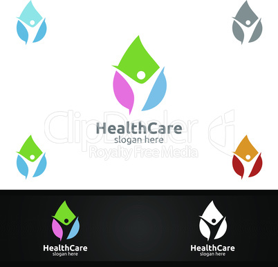 Water Drop Health Care Medical Logo with Human and Leaf Character for Therapy, Wellness, Spa, Education, Nutrition, or Fitness Concept