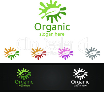 Splash Natural and Organic Logo design template for Herbal, Ecology, Health, Yoga, Food, or Farm Concept