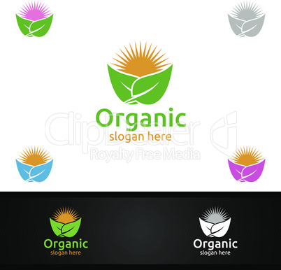Natural and Organic Logo design template for Herbal, Ecology, Health, Yoga, Food, or Farm Concept