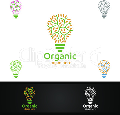 Idea Natural and Organic Logo design template for Herbal, Ecology, Health, Yoga, Food, or Farm Concept