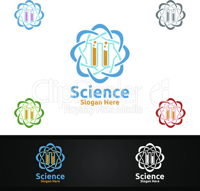 Science and Research Lab Logo for Microbiology, Biotechnology, Chemistry, or Education Design Concept
