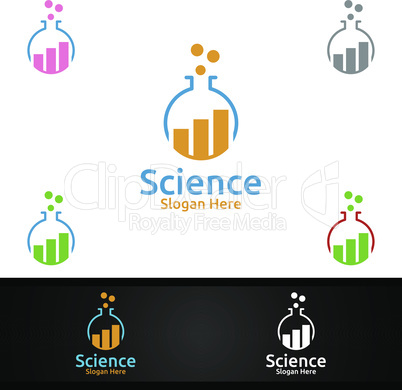 Statistic Science and Research Lab Logo for Microbiology, Biotechnology, Chemistry, or Education Design Concept