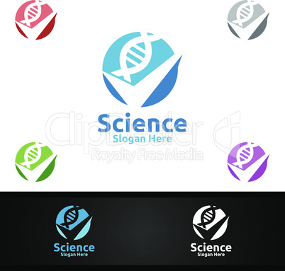 Check Dna Science and Research Lab Logo for Microbiology, Biotechnology, Chemistry, or Education Design Concept