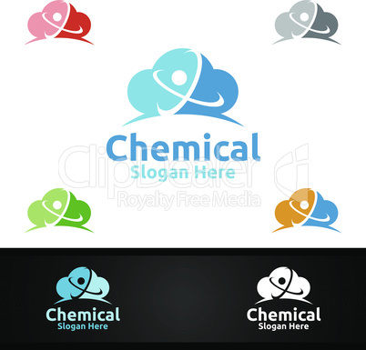 Cloud Chemical Science and Research Lab Logo for Microbiology, Biotechnology, Chemistry, or Education Design Concept