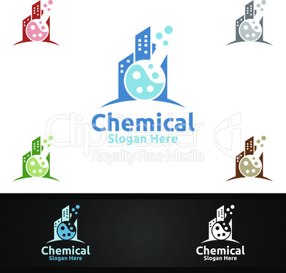 City Chemical Science and Research Lab Logo for Microbiology, Biotechnology, Chemistry, or Education Design Concept