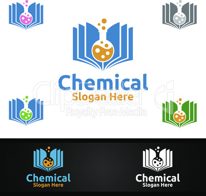Book Chemical Science and Research Lab Logo for Microbiology, Biotechnology, Chemistry, or Education Design Concept