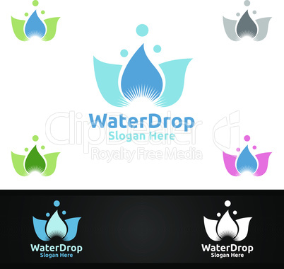 Water Chemical Science and Research Lab Logo for Microbiology, Biotechnology, Chemistry, or Education Design Concept