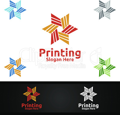 Star Printing Company Vector Logo Design for Media, Retail, Advertising, Newspaper or Book Concept