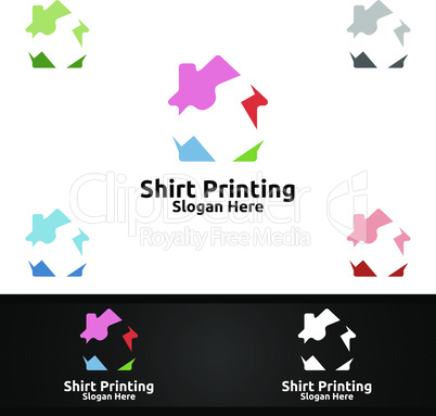 Studio T shirt Printing Company Vector Logo Design for Laundry, T shirt shop, Retail, Advertising, or Clothes Community Concept