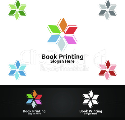 Star Book Printing Company Vector Logo Design for Book sell, Book store, Media, Retail, Advertising, Newspaper or Paper Agency Concept