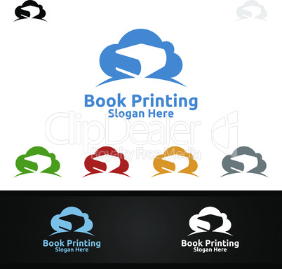 Cloud Book Printing Company Vector Logo Design for Book sell, Book store, Media, Retail, Advertising, Newspaper or Paper Agency