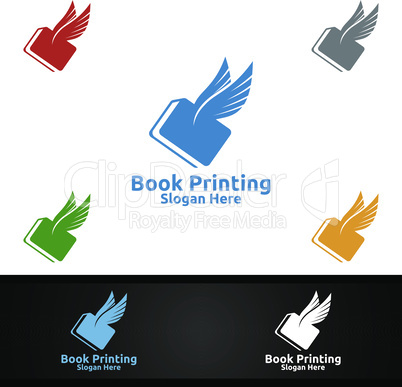 Flying Fast Book Printing Company Vector Logo Design for Book sell, Book store, Media, Retail, Advertising, Newspaper or Paper Agency Concept