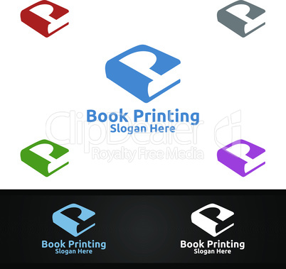 Letter P Book Printing Company Vector Logo Design for Book sell, Book store, Media, Retail, Advertising, Newspaper or Paper Agency Concept
