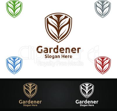 Security Gardener Logo with Green Garden Environment or Botanical Agriculture