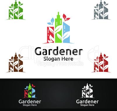 City Gardener Logo with Green Garden Environment or Botanical Agriculture