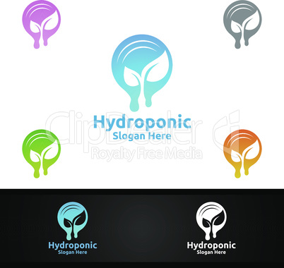 Water Hydroponic Gardener Logo with Green Garden Environment or Botanical Agriculture Design