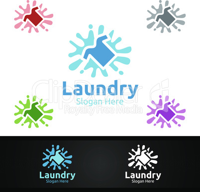 Splash Laundry Dry Cleaners Logo with Clothes, Water and Washing Concept