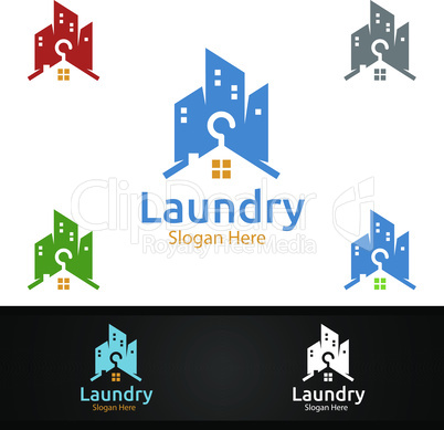 City Laundry Dry Cleaners Logo with Clothes, Water and Washing Concept