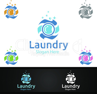 Laundry Dry Cleaners Logo with Clothes, Water and Washing Concept