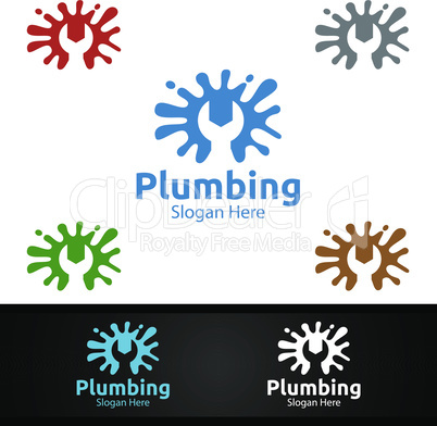 Splash Plumbing Logo with Water and Fix Home Concept