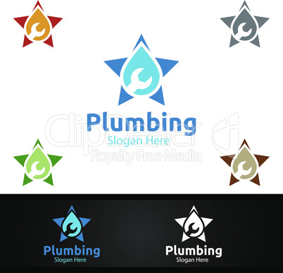 Star Plumbing Logo with Water and Fix Home Concept